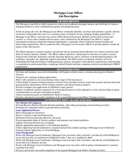 Description Of A Loan Officer by Sle Loan Officer Description 8 Exles In Pdf Word