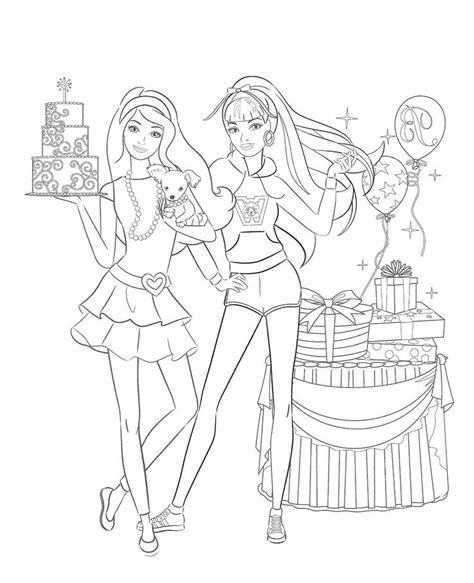 barbie birthday coloring page barbie birthday free coloring pages