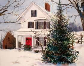 16x20 watercolor scene of white farmhouse decked out for christmas