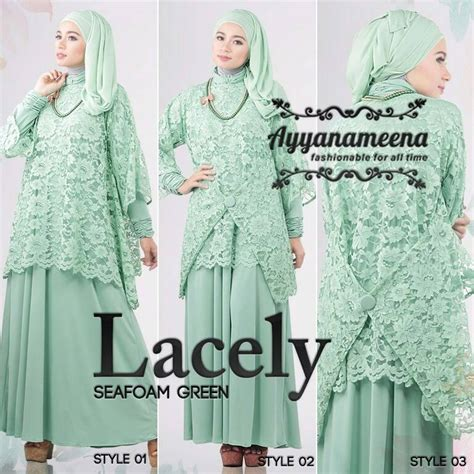 Wings Dres Resleting Depan Baju Busui Fashion Muslimah Simple lacely seafon green baju muslim gamis modern