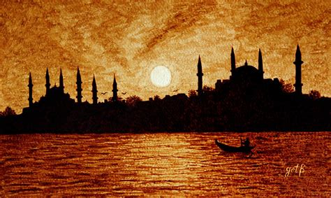 Duvet Cover Tutorial Sunset Over Istanbul Original Coffee Painting Painting By