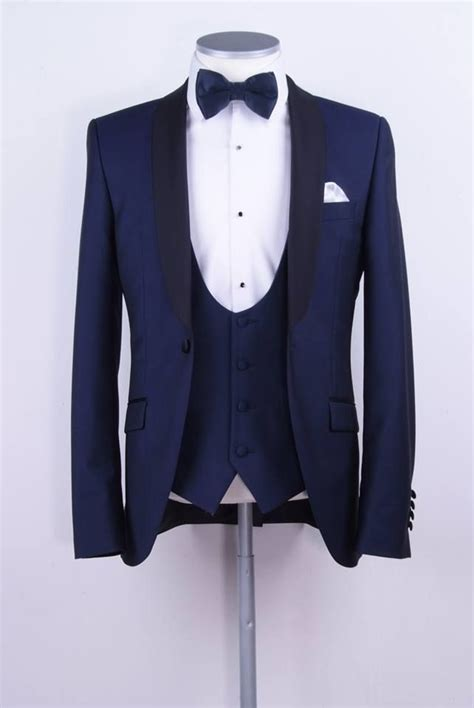foto design jaket royal blue slim fit dinner suit tuxedon perfect groom