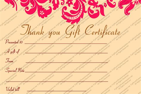 pink gift certificate template blank gift certificate template pink