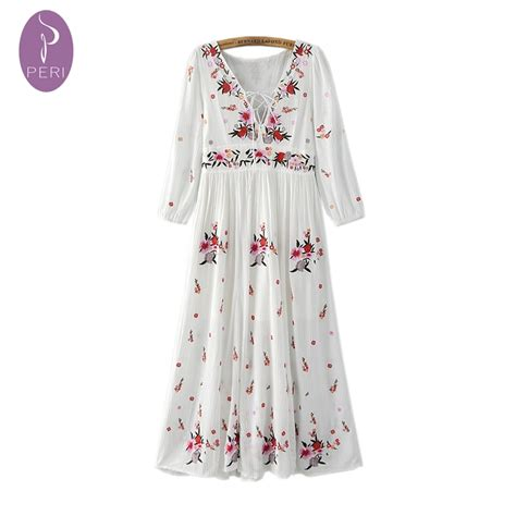 Bohemian Maxi Dress Boho Hippies Hippie Vintage Retro 1 nymph 2016 summer dress retro floral embroidered vintage white hippie boho dresses tunic