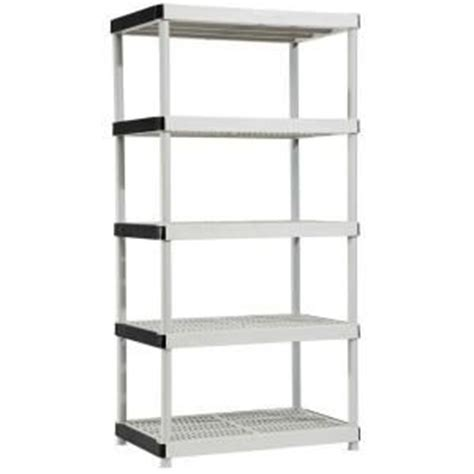 5 shelf 24 in d x 36 in w x 72 in h plastic ventilated