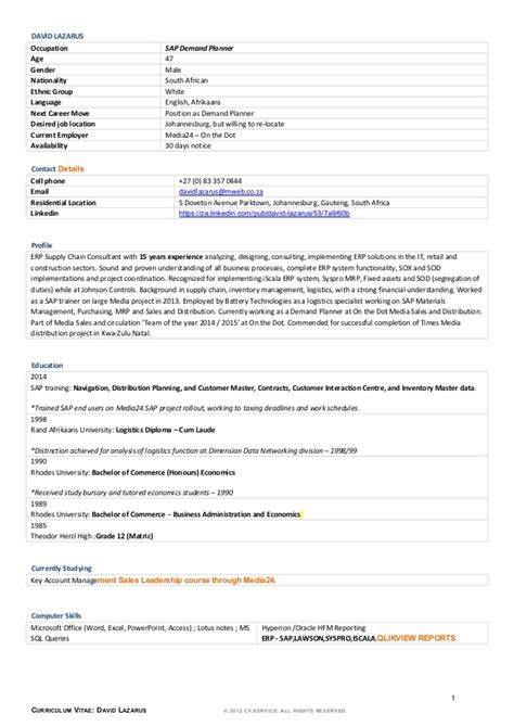 demand planner cover letter resume david lazarus 21 05 2015 demand planner new
