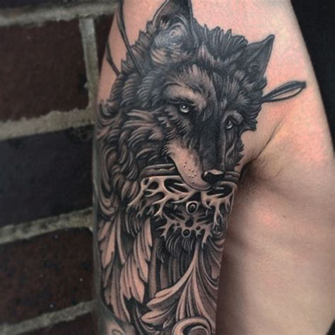 black and white wolf tattoo 113 best images about tattoos on wolves wing