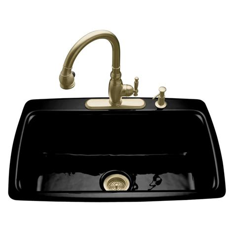 Black Kitchen Sink Faucets Shop Kohler Cape Dory 22 In X 33 In Black Single Basin Cast Iron Drop In 4 Residential