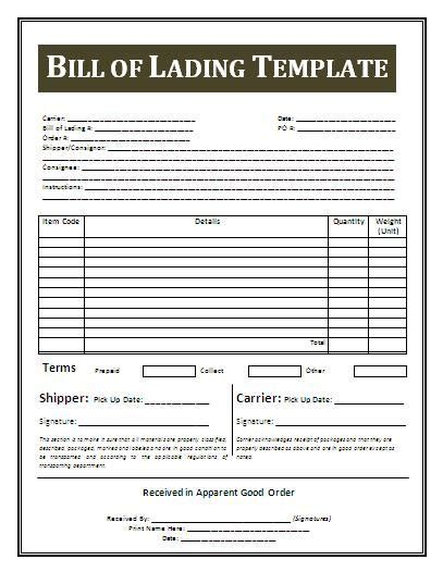 bill of lading sample bill of lading office templates 21 free