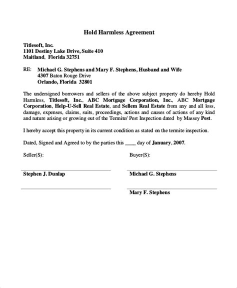 Release And Hold Harmless Letter 12 hold harmless agreements free sle exle