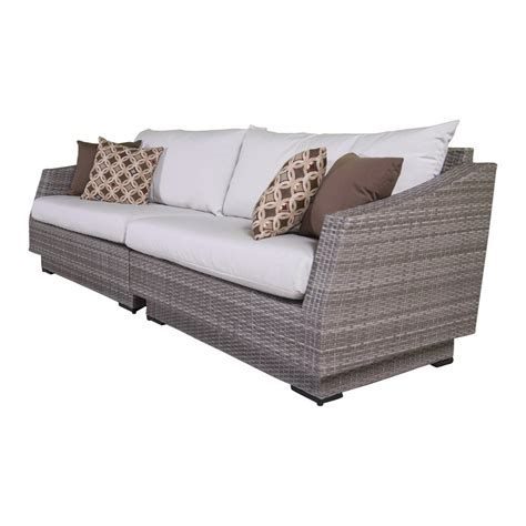 wicker sofa cushions shop rst brands cannes solid cushion wicker sofa at lowes com