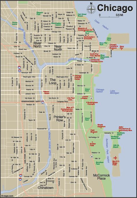 chicago map maps101 exle chicago downtown map