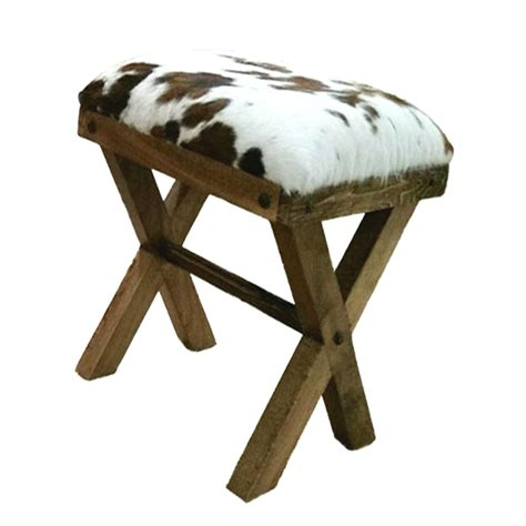 Cowhide bench foot stool