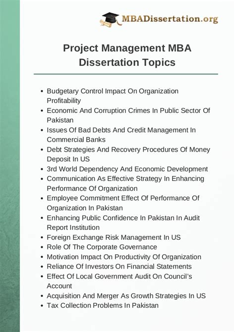 Dissertation Topics In It Management by Project Management Mba Dissertation Topics