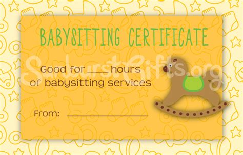 Babysitting Gift Certificate Template by For Mommies Everywhere Babysitting Certificates