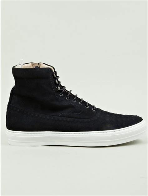 mcqueen mens sneakers mcqueen mens suede studded hightop sneakers in