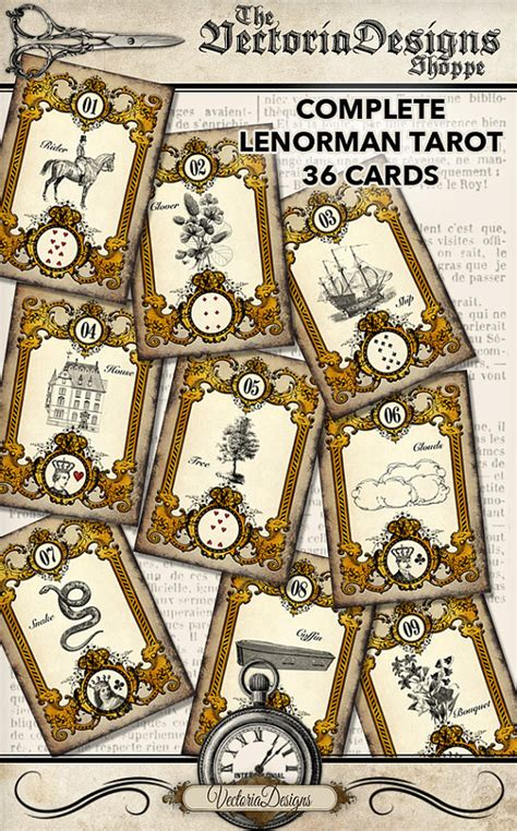 printable mini tarot cards printable tarot cards mlle lenormand full set complete diy