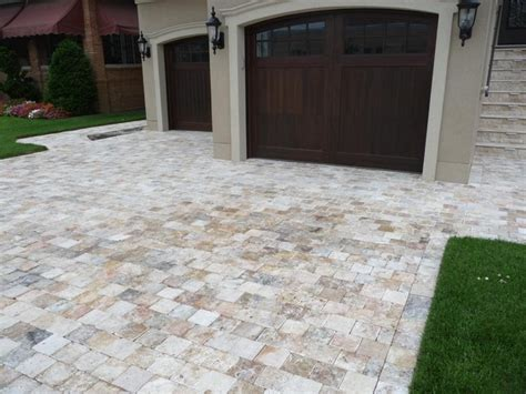 Home Depot Decorative Tile by Travertine Pavers Driveway Traditional Exterior