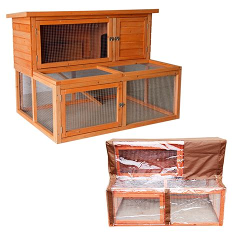 Rabbit Hutch With Cover 4ft large rabbit hutch with run and cover guinea pig