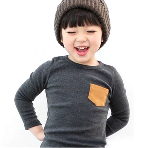 Longtee Boy Ekidz 6 wholesale baby sleeve crewneck t shirt pocket decor boy shirt clothes 2 7 y free