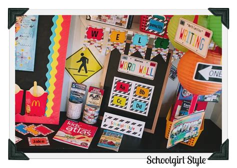travel themed classroom decorations road trip schoolgirlstyle