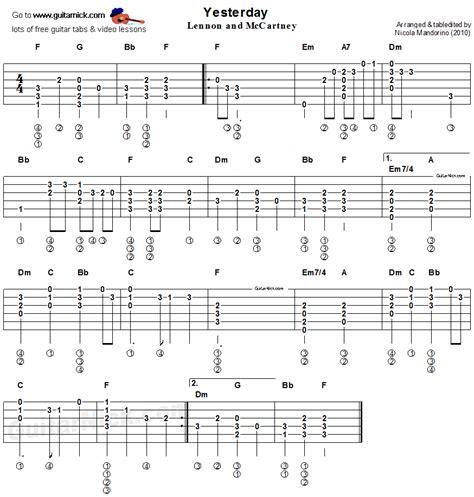 tutorial for guitar chords yesterday beatles easy acoustic guitar tab guitar