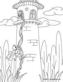 tale color rapunzel grimm tale coloring pages hellokids