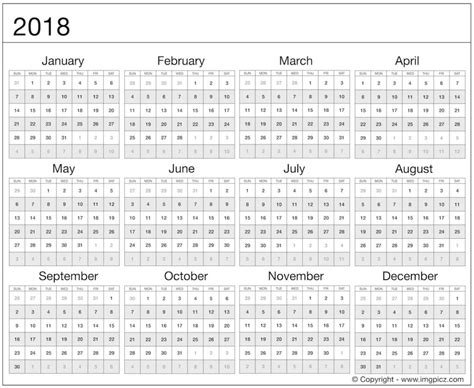 printable calendar year at a glance 2018 2018 calendar at a glance shoot design