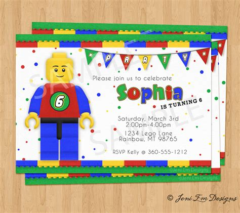 printable birthday cards lego lego birthday party invitation printable for boy or