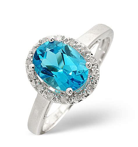 Topaz 7 56ct blue topaz 1 56ct and 9k white gold ring item e5494