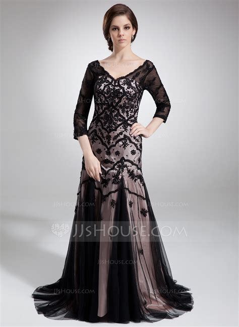 lace trumpet mother of the bride dress 98608 evening dresses trumpet mermaid v neck court train charmeuse tulle mother