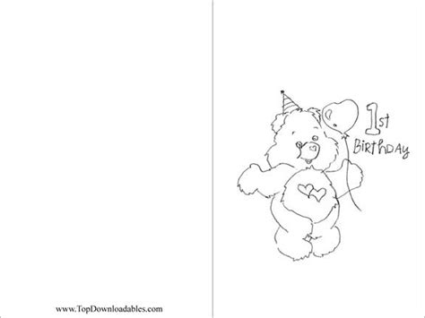 printable birthday cards free to color 7 best images of 1st birthday coloring card printable
