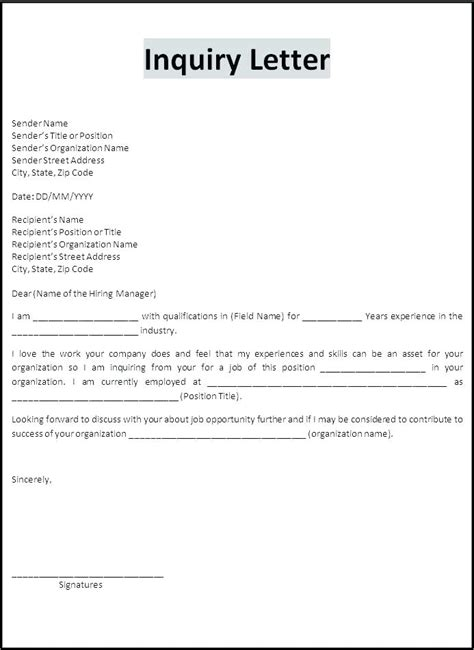 sle formal letter ks2 business letter sle inquiry business letter inquiry 28
