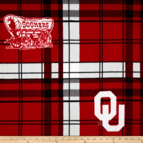 Oklahoma Upholstery by Of Oklahoma Fleece Plaid Crimson Discount