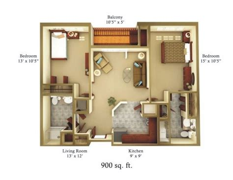 How Many Square Is A 2 Bedroom Apartment by 900 Square Foot House Plans Property Magicbricks