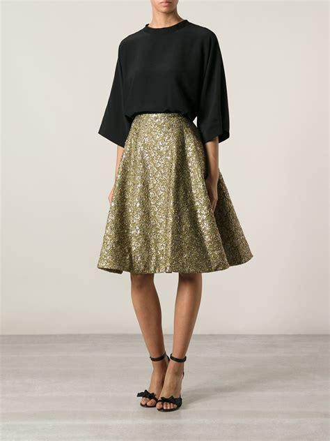 Brocade Skirt lyst rochas brocade circle skirt in metallic