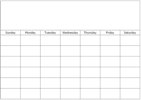 blank calendar template download large free calendar templates