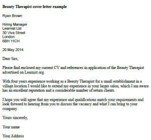 beauty therapist cover letter exle learnist org