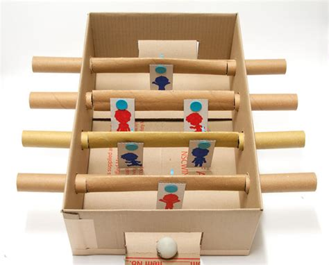 Easy Handmade Toys - makedo cardboard foosball table 7 steps with pictures