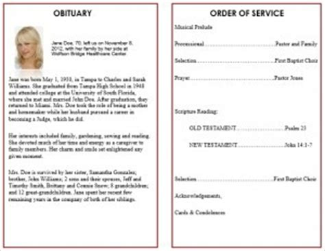 printable funeral service program templates cards