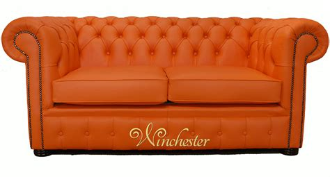 2 Seater Chesterfield Sofa Chesterfield 2 Seater Mandarin Orange Leather Sofa Offer