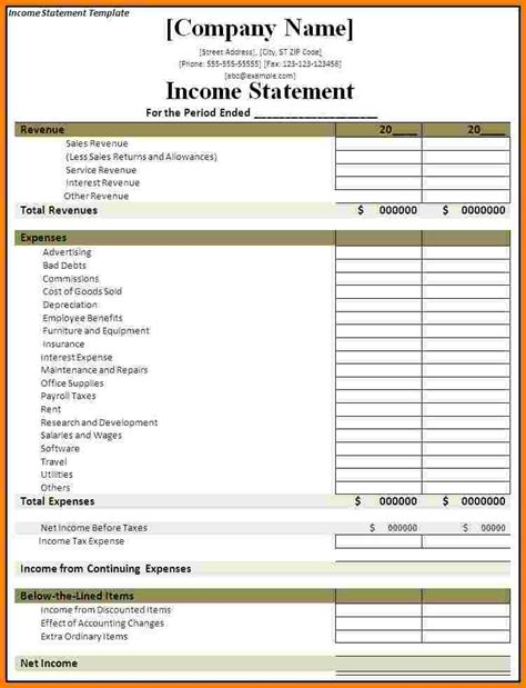 business statement template 9 profit and loss statement template statement 2017
