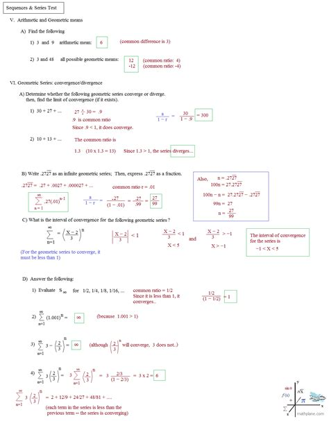 Arithmetic Sequences Worksheet by Arithmetic Series Worksheet Answer Key Deployday