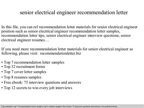 Recommendation Letter Qa Engineer Senior Electrical Engineer Recommendation Letter