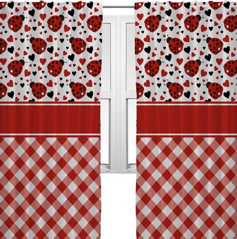Ladybug Kitchen Curtains Ladybugs Gingham Curtains 20 Quot X54 Quot Panels Lined 2 Panels Per Set Personalized