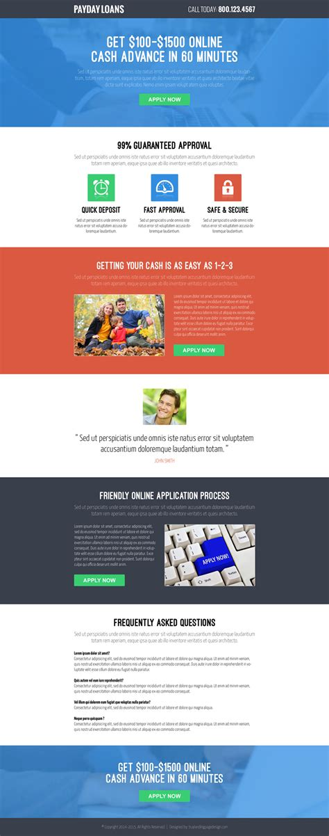 landing page templates for blogger responsive payday loan landing page to boost your business