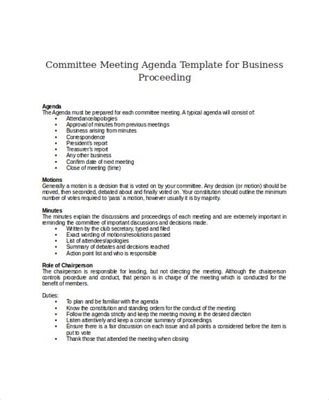 sle templates for an agenda committee meeting template 28 images committee meeting