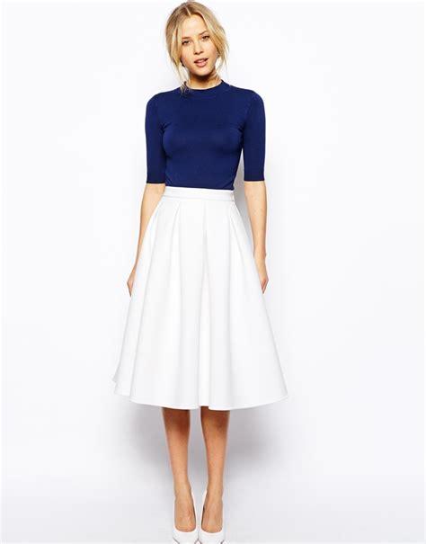 asos collection premium midi skirt in bonded crepe