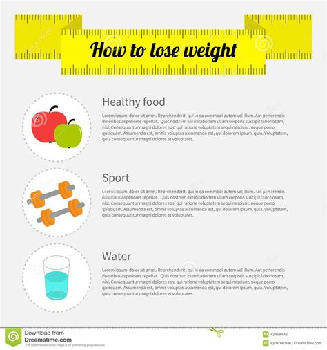 How To Lose Weight With Sports by How To Lose Weight Infographic Healthy Food Stock Vector