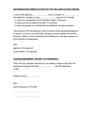 vfs appointment letter for us visa authorization letter to collect passport from vfs